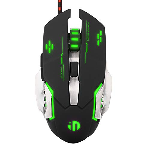 Silent Click Mouse, Inphic Wired Gaming Mouse with 6 Macro Programmable Buttons, USB Optical PC Laptop Computer Ergonomic Quiet Mice, 4800DPI , 7 RGB Breathing LED Backlit