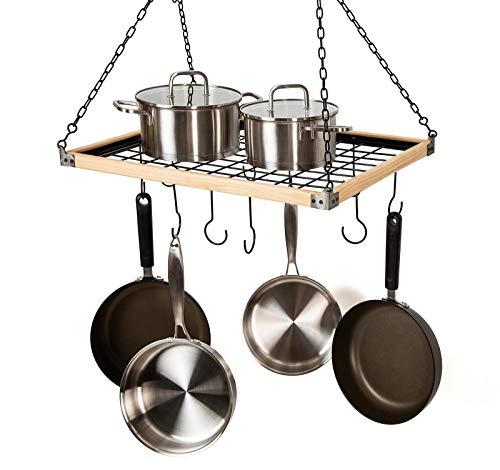 Soduku Pot Pan Rack with Shelf Grid, Ceiling Mounted Hanging Multi-Purpose Wood & Metal Cookware Hanger Organizer Kitchen Storage with 10 Hooks