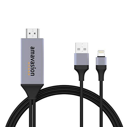 Amavasion Cable HDMI para Phone a 1080P Digital AV HDTV Compatible con iPhone 11/11 Pro/11 Pro MAX/XR/X/XS/XS Max/8/8 Plus/7/7 Plus/6/6 Plus/6S/6S Plus/SE, iPad Air/Mini