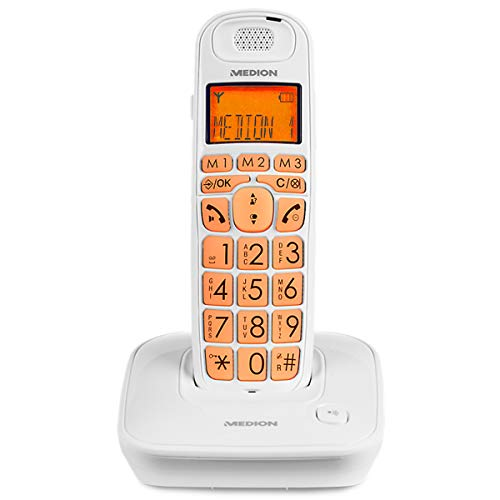 Medion Life E63197 schurloses Großtasten Telefon Senioren (weiß)