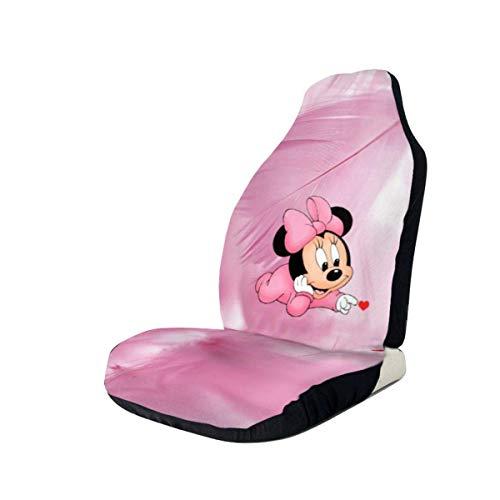 FETEAM 2Pcs Fundas para Asientos Baby Minnie sobre Fondo Rosa Universal Auto Accesorios Protectores Funda de Asiento