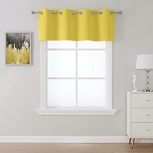 SeeGlee Yellow Grommet Valance for Nursery,Thermal Insulated Light Reducing Drapes for Kids Room(1 Panel,54 W by 18 L)