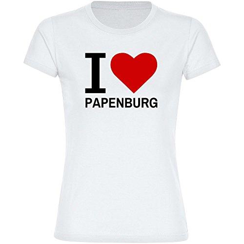 Damen T-Shirt Classic I Love Papenburg - weiß - Größe S bis 2XL, Größe:XXL