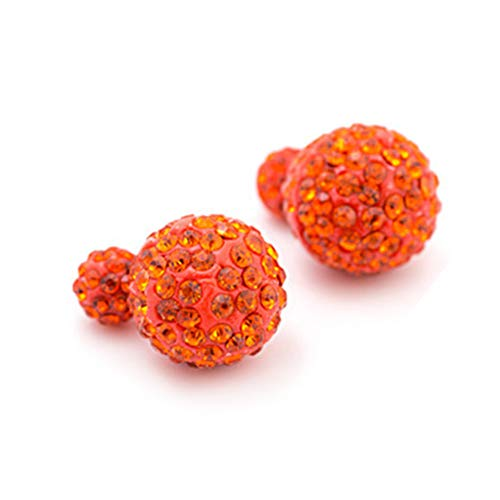 925 plata plateada color naranja cristal rhinestone doble Shambhala estilo dos bolas mujeres pendientes