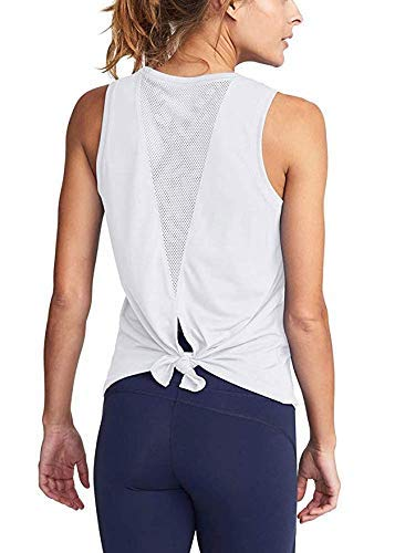 OneCut Womens Cute Yoga Workout Mesh Shirts Activewear Sexy Open Back Sports Tank Tops White Large