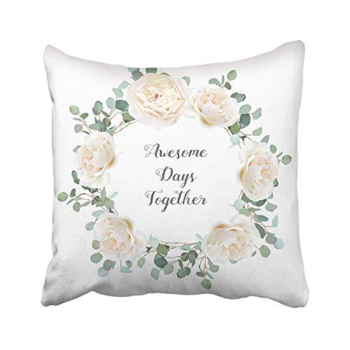Rosas blancas cremosas y ramas de eucalipto plateadas, redondas, lindas y rústicas, para bodas, verdor, color azul menta, funda de almohada personalizada para sofá, hogar, cama, 55,88 x 55,88 cm