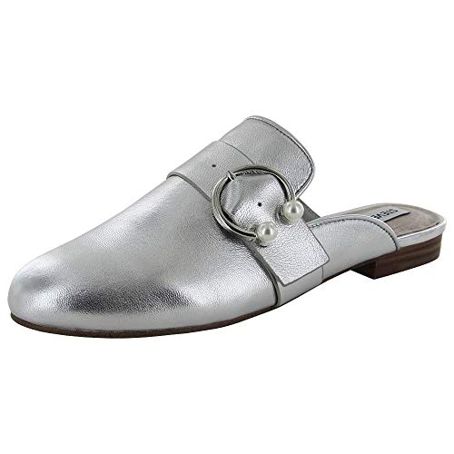 Steve Madden Womens Hilary Loafer Mule Shoes, Silver Leather, US 7