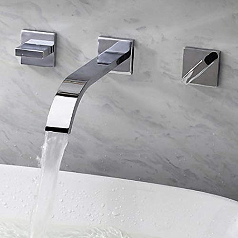 Waschbecken Wasserhahn-Wasserfall verchromt Wandhahn mit drei Lchern zwei Griffen und drei Lchern