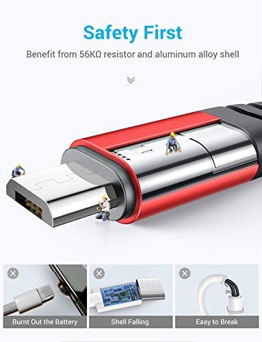 AINOPE Micro USB Kabel 2 Stück 2M, Ladekabel Samsung Nylon Handy Micro Kabel, Samsung Galaxy s7 Schnellladekabel für Samsung S7/ S6 / J7/ Note 5,Huawei,Wiko,Nexus,Motorola,Nokia,Echo Dot-Rot