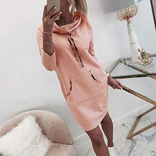 BDToy Damen Beiläufig Kapuzenpullover Kleid Lange Ärmel Kordelzug Känguru Tasche Sweatshirt Solide Farbe Tunika Tops