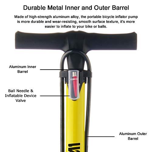 Bike Pump, WEIDMAX Ergonomic Bike Floor Pump Bicycle Tire Inflator Bicycle Air Pump Portable Inflator Pump with Gauge & Smart Valve Head, 160 psi, Compatible with Universal Presta and Schrader Valve
