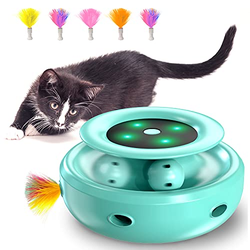 HOFIT Interaktives Katzenspielzeug, Hinterhalt mit Kugelbahnen 2-in-1 Roboter-Katzenspielzeug mit 4 austauschbaren Federn, elektrisches Katzenspielzeug für Katzen/Kätzchen (Grün)