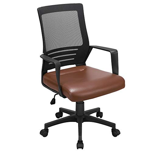 Yaheetech Ergonomic Home Office Chair Leather and Mesh Combine Desk Chair Rolling Swivel Adjustable Mesh Chair with Lumbar Support and Armrests for Office and Home, Brown
