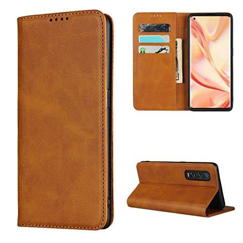 Copmob Hülle Oppo Find X2 Pro,Premium Flip Leder Brieftasche Handyhülle,[3 Kartensteckplatz][Ständerfunktion][Magnetverschluss],Ledertasche Schutzhülle für Oppo Find X2 Pro - Hellbraun