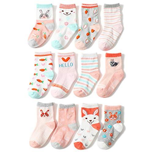 12 Pairs Non Slip Cotton Socks for Baby Toddler Thermal Bed Socks Cosy Socks Slipper Socks for Girls,M