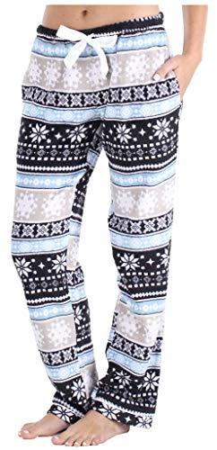 PajamaMania Women's Fleece Pajama Pants with Satin Drawstring, Grey Fair Isle, Medium