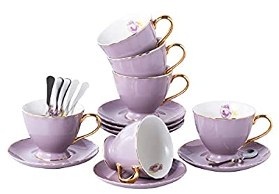 Jusalpha Porcelain Tea Cup and Saucer Coffee Cup Set with Saucer and Spoon Set of 6 (FD-TCS02 purple (6), 7oz)