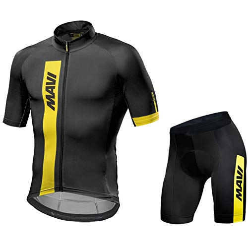 QWA Maillot Ciclismo Hombre Verano Camiseta Bicicleta Manga Corta + Culotte Pantalones Cortos Bodies Transpirable, Secado Rápido, para Bicicleta Montaña Ropa de Equipo Profesional