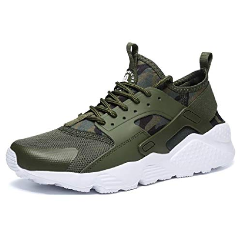 High Fashion Casual Running Shoes Lace-up Sneakers Hard-Wearing Breathable Lightweight Rubber Sole Canvas Low Top Flat Heel Outdoor Trend Unisex Adult (Women's 9 / Men's 7.5 [EUR 40], Army Green)