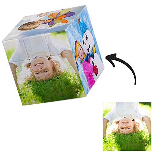 Q&K Custom Cube Photo Personalized Photo Puzzle 3D Rotatable Rubik's Cube with 6 Pictures Birthday Christmas Personalized Gifts for Kids Father Mother Girlfriend Boyfriend(6 Photo)