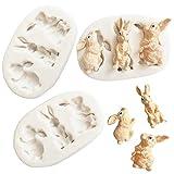 Forma de Conejo Moldes de Silicone,3Pcs Molde de silicona para fondant de Pascua, Molde para conejo, Fondant, para Decoración de Tartas, Chocolate,Jabón, Pasteles Decoración de Galletas