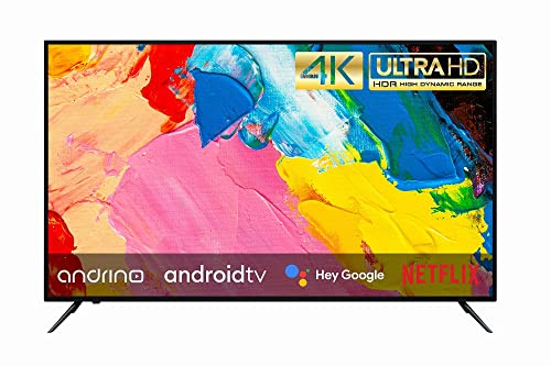 Andrino Fernseher AN55U01 55 Zoll 139 cm 4K UHD LED Smart TV Tuner T2/S2/C Android TV, Google Assistant, Google Play Store, Prime Video, Netflix Chromecast Wi-Fi Bluetooth HDR10 HLG 55