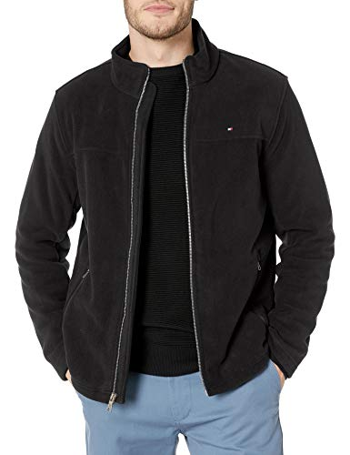 Tommy Hilfiger Men's Classic Zip Front Polar Fleece Jacket, Black, XL