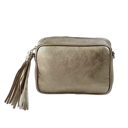 SH Leder Echtleder Umhängetasche mittel kleine Tasche Abendtasche Clutch Crossbody Bag Messenger Handtasche mit Reißverschluss 21x15cm Chiara G209 (Bronze)