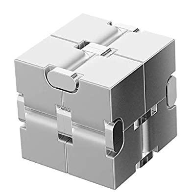 ANVEC Aluminum Fidget Cube,Infinite Cube Fidget Finger Toys,Mini Office Decompression Toys Cool Stuff Gadgets for Men Boy Girl(Silver) from ANVEC