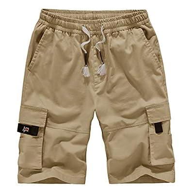 Kolongvangie Hiking Shorts Men's Solid Multi-Pocket Cargo Shorts Casual Slim Fit Solid Cotton Shorts with Expandable Waist Khaki