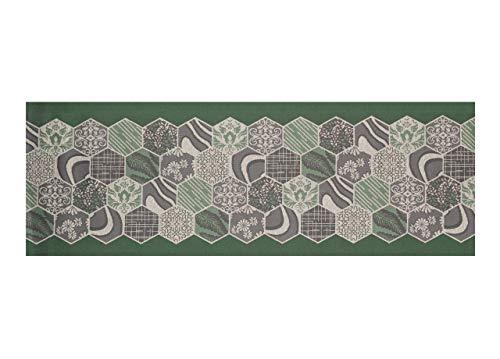 CapitanCasa Tappeto Passatoia Jacquard Antiscivolo Linea Emozioni Fantasia Mosaico Verde 57x600 Verde