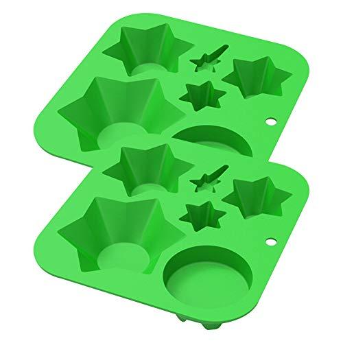 2 Stück Weihnachten Silikonform DIY Weihnachtsbaum Silikon Schokolade Süßigkeiten Cupcake Backform mehrschichtige 3D Weihnachts Kuchenform Seifenform,Silikon Backform,6 Mulden