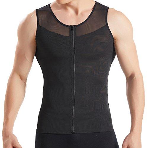 Hanerdun- Mens Slimming Body Shaper Shirt With Zipper Abs Abdomen Slim,Black,X-Large