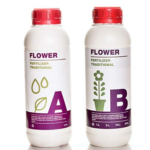 HOLLAND SOIL Set Flower A + B Traditioneller Formeldünger. Produkt für den heimischen Gartenbau. (1 L)