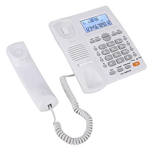 Bicaquu Teléfono Fijo con Cable con Pantalla LCD Teléfono con Cable con identificador de Llamadas Hecho de ABS Botones Grandes Inicio para teléfono calculadora(White)