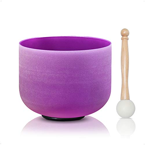 CVNC 8 Inch Purple Color B Note Crown Frosted Quartz Crystal Singing Bowl + Free mallet & O-ring Sound Healing Instrument