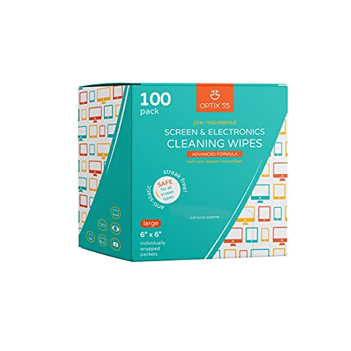 Screen & Electronic Cleaning Wipes, 100 Pre-Moistened Individual Wrapped (6' x 6') TV Screen Cleaner, Computer Monitor, Laptop, Lens Wipes, Monitor, Tablet, Safe for All Screens | Streak-Free