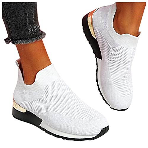 A / B Damen Mesh Sneaker Canvas Dicker Boden Schuhe,Atmungsaktiv Leichte Sportschuhe Freizeitschuhe Sneaker Trainer Fitnessschuhe Laufschuhe Schnürsenkel,Sommer Herbst Turnschuhe für Frauen