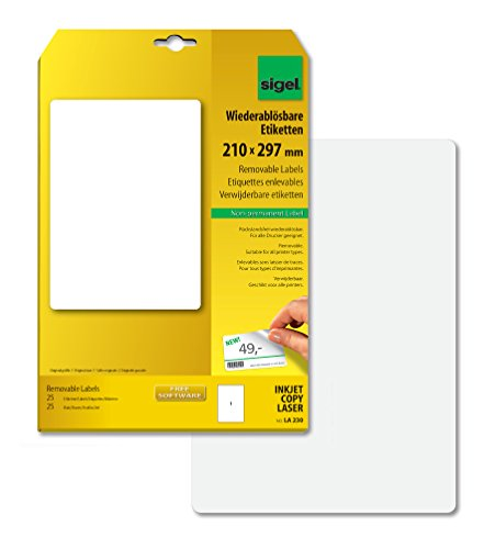 SIGEL LA230 Ablösbare Etiketten weiß, 210 x 297 mm (A4), 25 Etiketten = 25 Blatt, abger&et