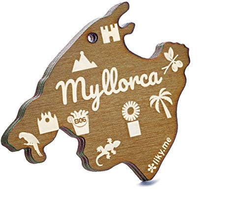 LIKY® Mallorca Insel Myllorca - Original Schlüsselanhänger aus Holz Gravur Geschenk Souvenir Damen Herren Geburtstag Hobby Schmuck Anhänger Tasche Rucksack