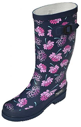 Regenliebe Damen Gummistiefel Sea of Flowers Regenstiefel Langschaft, Größe:40 EU