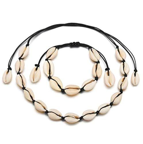 HENGSONG Cowrie Collana girocollo a conchiglia per donna Bracciale a conchiglia a conchiglia Collana estiva con gioielli hawaiani Catena nera