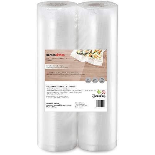 Bonsenkitchen Rollos al Vacio para Envasadora al Vacío, 2 Rollos 28 x 300cm Bolsas de Vacio Gofradas para Conservación de Alimentos y Sous Vide Cocina & Boilable - VB8002