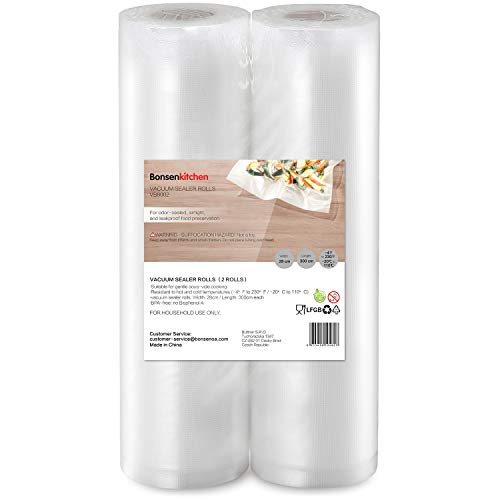 Bonsenkitchen Vakuumrollen 2 Rollen 28x300cm Vakuumierfolie - Profi Vakuumbeutel für Vakuumierer & Lebensmittel Vakuumiergerät, BPA-frei, Kochfest und Sous Vide Gefrierbeutel - VB8002