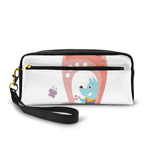 Pencil Case Pen Bag Pouch Stationary,Cartoon Car Puppy Spring Flowers Pastel Butterfly Fantasy World of Children,Small Makeup Bag Coin Purse