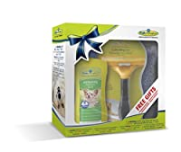 FURminator value box set for a well-groomed and happy dog FURminator deShedding tool Large Dog Long Hair with Free Deodirising Waterless Spray and Grooming Towel Reduces Shedding by up to 90%