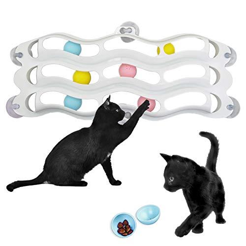 WOTEG Aspirador para gatos de tres capas para el alféizar de la ventana, bola de juguete, divertido ejercicio de gato intelectual, juguete para la pared