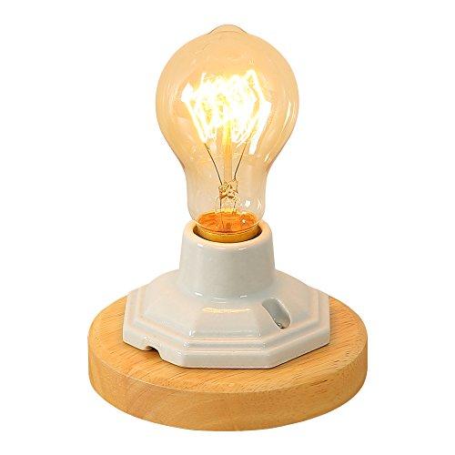 Injuicy R-lampen, retro, industriële, E27-fitting, houten sokkel, bureaulamp voor nachtkastje, deur, woonkamer, slaapkamer