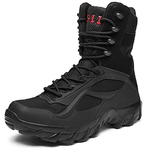 Botas de Senderismo Impermeables para Hombres Zapatos de montañismo para mochileros de Trekking de caña Alta para Exteriores-Black  EU39/US7