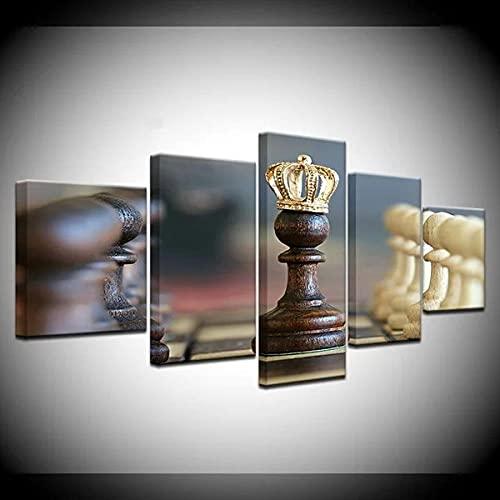 Cuadro en Lienzo Impresión de 5 Piezas Material Tejido no Tejido Juego de Mesa de ajedrez Impresión Artística Imagen Gráfica Decoracion Listo para Colgar 150 * 80Cm con Marco